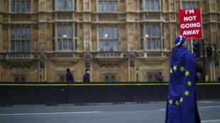 Протестующий перед зданием парламента в Лондоне с плакатом: «Я не ухожу», 20 марта 2019.