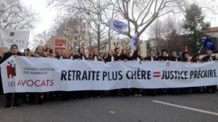Les avocats marchent contre la réforme des retraites, Paris, le 11 janvier 2020.