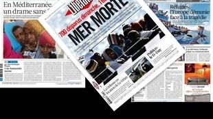 Capa dos jornais franceses La Croix, Libération e Le Figaro desta segunda-feira, 20 de abril de 2015
