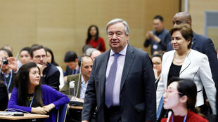 U.N. Secretary General Antonio Guterres arrives for a meeting with representatives of various NGO organisations before the final session of the COP24 U.N. Climate Change Conference 2018 in Katowice, Poland, December 14, 2018.
