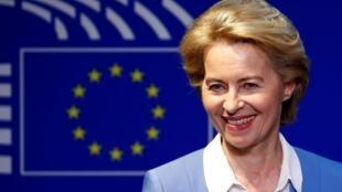La ministre allemande de la Défense, Ursula von der Leyen, nommée présidente de la Commission européenne à Bruxelles, le 10 juillet 2019.