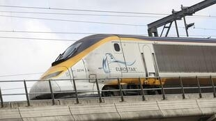 A Eurostar train leaves London St Pancras station