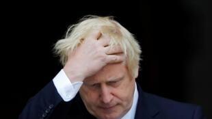 Le Premier ministre britannique Boris Johnson après une rencontre avec son homologue irlandais Leo Varadkar, à Dublin, le 9 septembre 2019.