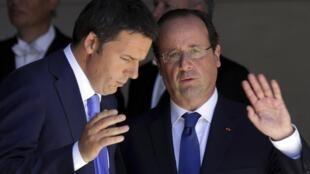 French President Francois Hollande and Italian Prime Minister Matteo Renzi, 21 June 2014.