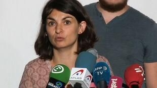 Aurélie Trouvé, le 12 août 2019, lors d'une conférence de presse organisée par Attac pour protester contre le G7.
