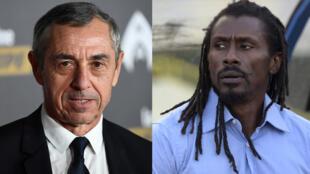 Alain Giresse, entraîneur de la Tunisie (AFP/Franck Fife) et Aliou Cissé, entraîneur du Sénégal (AFP/Seyllou).