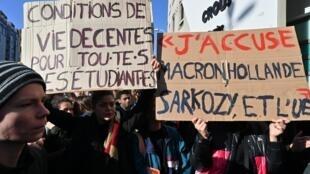 Sinh viên Pháp biểu tình tại Lyon ngày 12/11/2019 đòi cải thiện điều kiện sống và học tập.