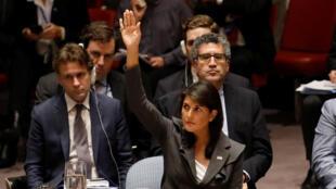 L'ambassadeur des Etats-Unis aux Nations unies, Nikki Haley, a été la seule à se prononcer en faveur de la résolution américaine, le 1er juin 2018.