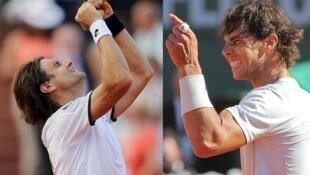 Os espanhóis David Ferrer (e) e Rafael Nadal se enfrentam domingo pela final do torneio de Roland Garros.