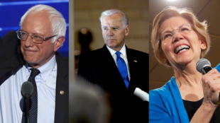 Bernie Sanders, Joe Biden et Elizabeth Warren.