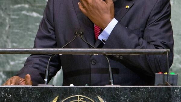 Mali's Prime Minister Cheick Modibo Diarra wipes tear from his eye when addressing the UN General Assembly last month