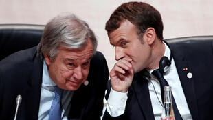 United Nations Secretary General Antonio Guterres and French President Emmanuel Macron attend the One Planet Summit at the Seine Musicale centre in Boulogne-Billancourt, near Paris, on 12 December, 2017.