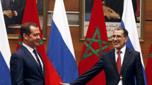 Dmitri Medvedev aux côté du Premier ministre marocain Saadeddine Othmani le 11 octobre 2017.