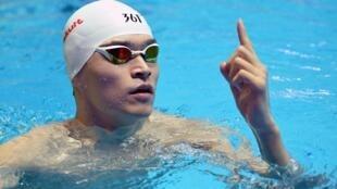 Le Chinois Sun Yang, lors des Championnatsdu monde 2019 de natation.