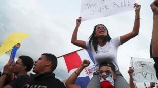 Une manifestation à Saint-Domingue contre la suspension des élections municipales, le 19 février 2020.