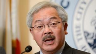 图为李孟贤今年1月31日在旧金山市政厅发表演说