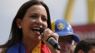 Deputada opositora venezuelana Maria Corina Machado durante um discurso em Caracas, no dia 26 de março.