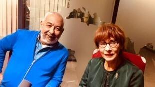 L'écrivain cubain Leonardo Padura et son éditrice française Anne-Marie Métailié.