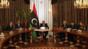 Libya's Prime Minister Ali Zeidan (C) during a news conference in Tripoli, 31 March, 2013