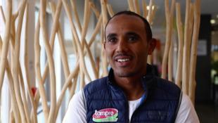 Ethiopia's Tsgabu Gebremaryam Grmay in Saint Lô, Normandy, ahead of the 2016 Tour de France