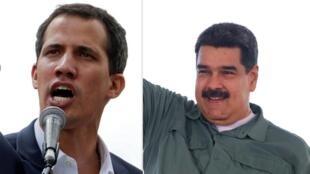 O autoproclamado presidente interino da Venezuela, Juan Guaidó, confirmou na segunda-feira que dialogou com o presidente americano, Donald Trump. Fotomantem de Juan Guaidó e Nicolás Maduro