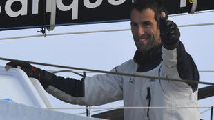 French skipper Armel Le Cleac'h at the finish line of the Vendée Globe, Les Sables d'Olonne