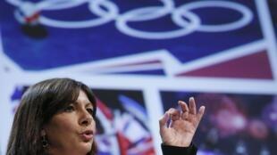A prefeita de Paris, Anne Hidalgo, durante uma das apresentações sobre a candidatura da capital francesa para sediar os Jogos Olímpicos de 2024.