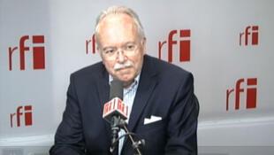 Front National treasurer Wallerand de Saint-Just in RFI's studios