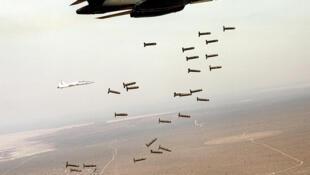 Avião B-1 Lancer ataca região com bombas de fragmentação.