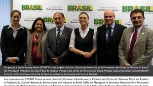 Membros da associação Ecpat France junto com representantes brasileiros e franceses na defesa da criança e na luta contra a prostituição.