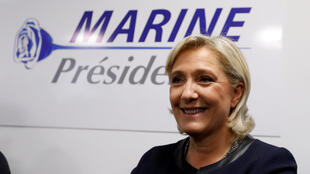 Marine Le Pen durante o lançamento do logotipo de sua campanha, no dia 16 de novembro.