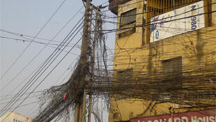 Electricity cables in Onitsha, south-east Nigeria.