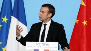 Tổng thống Pháp Emmanuel Macron phát biểu tại Bắc Kinh, nhân chuyến thăm Trung Quốc ngày 08/01/2018