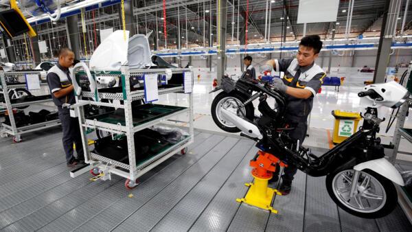 Một nhà máy lắp ráp xe gắn máy tại Hải Phòng. Ảnh chụp ngày 03/11/2018.