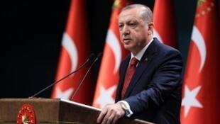 O presidente turco, Recep Tayyip Erdogan Erdogan, em 18 de abril de 2018.