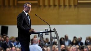 Le Premier ministre grec Kyriakos Mitsotakis, avait dévoilé une partie de son plan de relance économique, lors de l'ouverture de la Foire internationale de Thessalonique, le 7 septembre 2019.