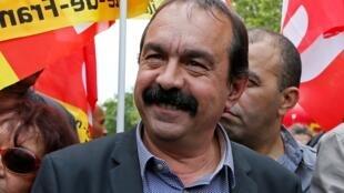 Le leader syndical de la CGT Philippe Martinez lors d'une manifestation le 17 mai 2016.