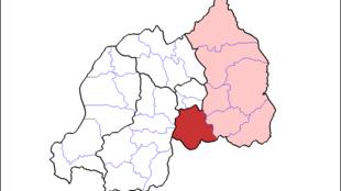 Le district de Bugesera au sud de Kagali au Rwanda, représenté ci-dessous par la zone rouge vive.