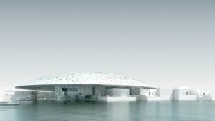 Louvre de Abu Dhabi é parcialmente coberto por uma gigantesca cúpula branca.