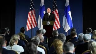 Le secrétaire d'État américain, Mike Pompeo en conférence de presse à Rovaniemi en Finlande, le 6 mai 2019.