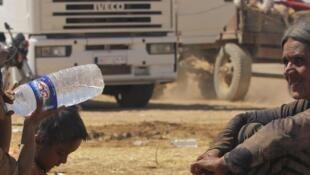 Refugiados em Irbil no Curdistão iraquiano.