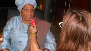 Liberia's president Ellen Johnson-Sirleaf talking to RFI in Addis Ababa Sunday evening