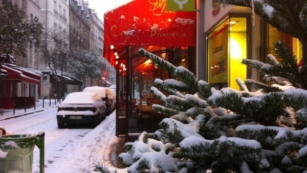 Paris's Latin Quarter under snow on Sunday