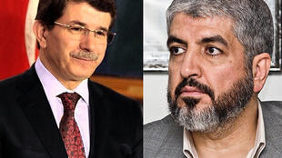 Turkish Foreign Minister Ahmet Davutoglu (L) and Hamas leader Khaled Meshaal (R)