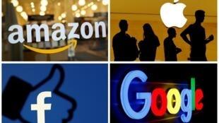 Ảnh ghép biểu tương của bốn tập đoàn công nghệ lớn GAFA (Google, Apple, Facebook, Amazon).