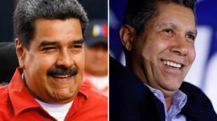 O presidente Nicoals Maduro e seu adversário Henri Falcón