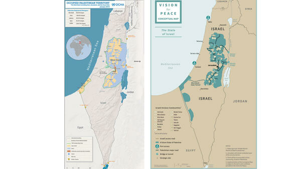 Sur la carte de droite, le futur État palestinien selon le plan de Trump.