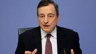 Le président de la BCE Mario Draghi lors de sa conférence de presse, ce jeudi 7 mars 2019, au siège de la banque à Francfort.
