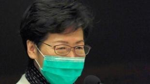 La cheffe de l'exécutif Carrie Lam lors d'une conférence de presse à Hong Kong, ce mardi 28 janvier 2020.