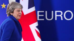 A primeira-ministra britânica, Theresa May, durante coletiva após cúpula extraordinária dos líderes da União Europea para discutir novo adiamento do Brexit.